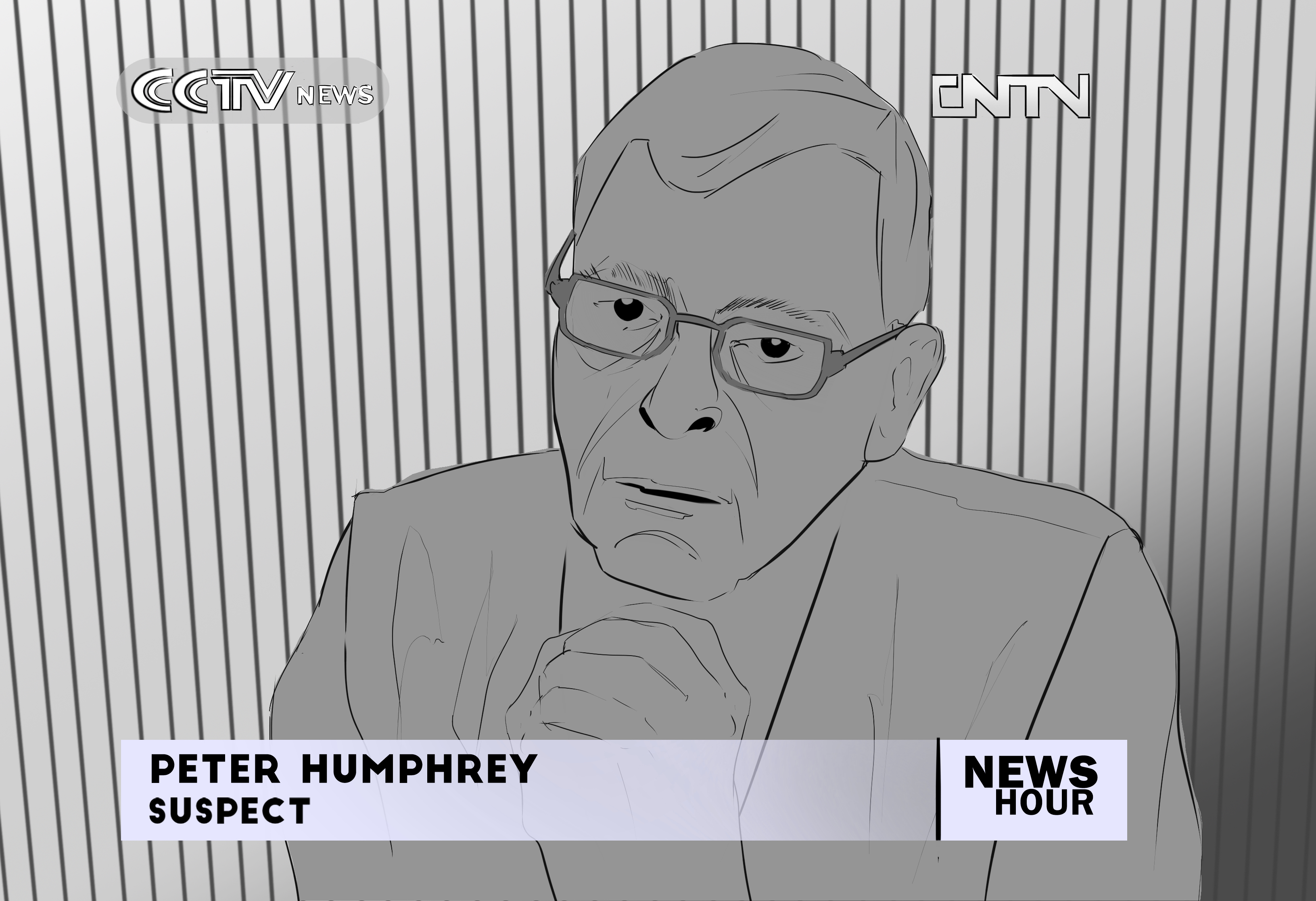 Sketch of Peter Humphrey's TV appearance