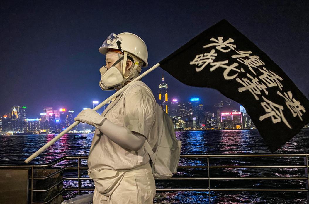 Protestor in Hong Kong wearing a mask