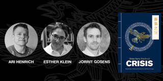 Speakers Ari Heinrich, Esther Klein, Jorrit Gosens, and the China Story Yearbook: Crisis cover