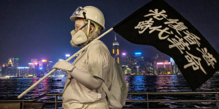 Protestor in Hong Kong wearing a mask