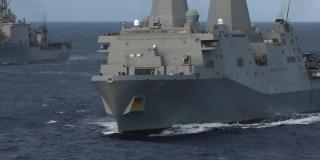 Photo credit: Flickr. USS San Antonio alongside USS Carter Hall. (U.S. Navy photo by Mass Communication Specialist 2nd Class Corbin J. Shea/Released) 130321-N-SB587-349