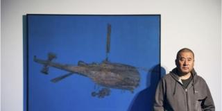 Zhang Peili with Flying Machine painting