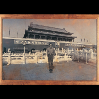 """Yao Jui-Chung, Museum of History, Beijing from 'Recover Mainland China """"Action""""  series', 1997, performance, photograph."""